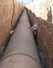 Pipeline in a ditch